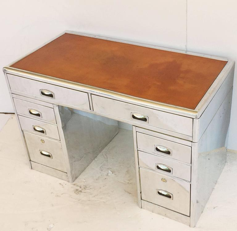 English Marine or Nautical Pedestal Desk of Polished Aluminum with Leather Top 4