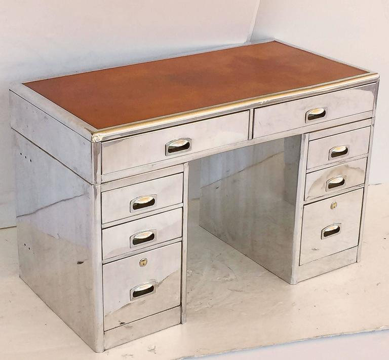 English Marine or Nautical Pedestal Desk of Polished Aluminum with Leather Top 2