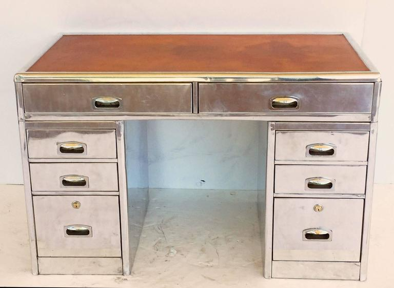 English Marine or Nautical Pedestal Desk of Polished Aluminum with Leather Top 3
