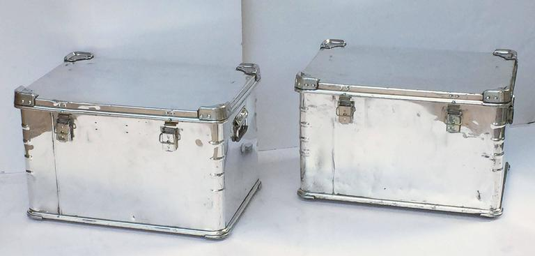Pair of German Luggage Trunks of Polished Aluminum 3