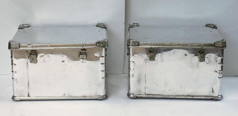 Pair of German Luggage Trunks of Polished Aluminum 5