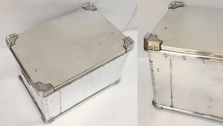 Pair of German Luggage Trunks of Polished Aluminum 8