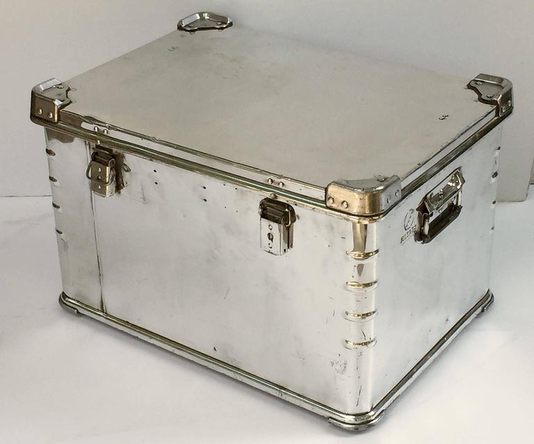 Pair of German Luggage Trunks of Polished Aluminum 6