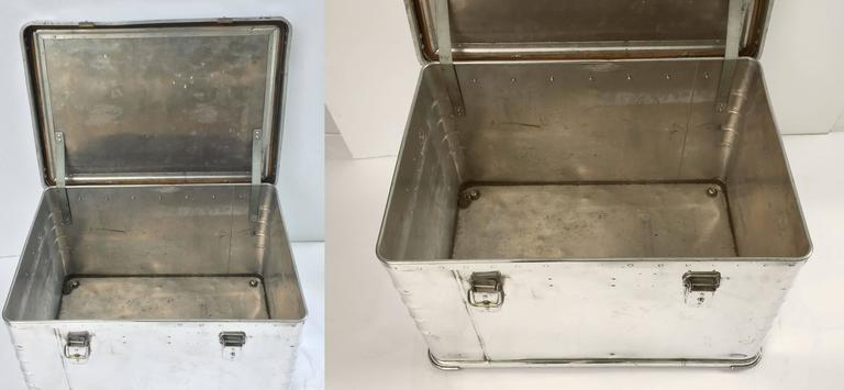 Pair of German Luggage Trunks of Polished Aluminum 10