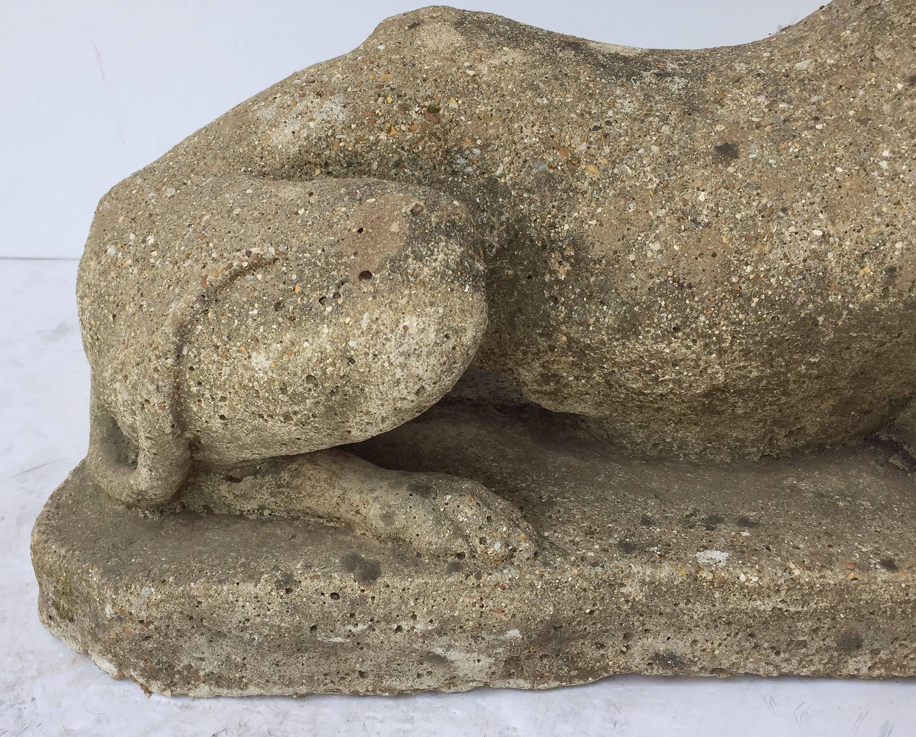 English Garden Stone Statue of a Greyhound or Whippet at 1stdibs