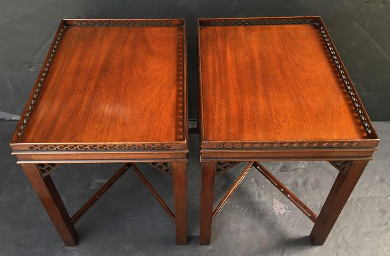 Pair of English Side or End Tables of Mahogany in the Chippendale Style 6