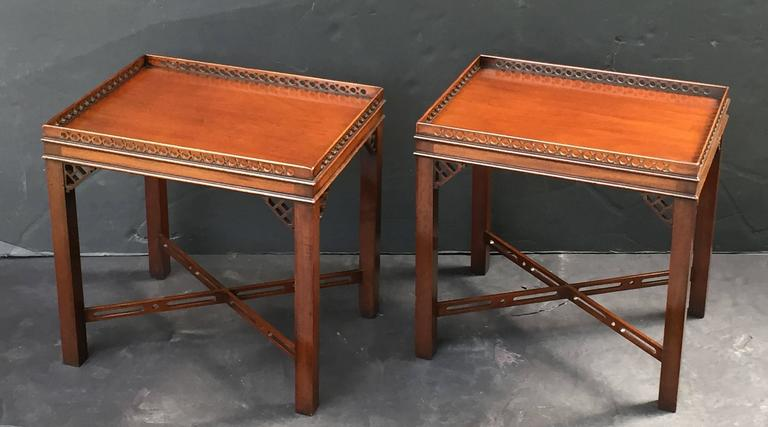 Pair of English Side or End Tables of Mahogany in the Chippendale Style 5