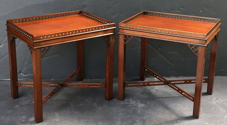 Pair of English Side or End Tables of Mahogany in the Chippendale Style 2