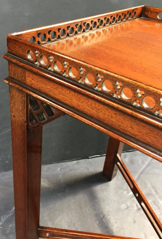 Pair of English Side or End Tables of Mahogany in the Chippendale Style 8