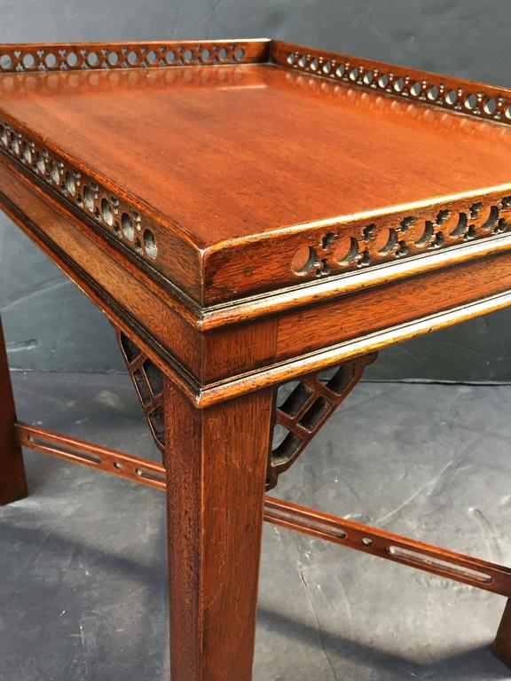 Pair of English Side or End Tables of Mahogany in the Chippendale Style 9