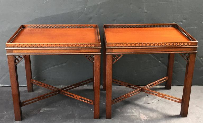 Pair of English Side or End Tables of Mahogany in the Chippendale Style 3