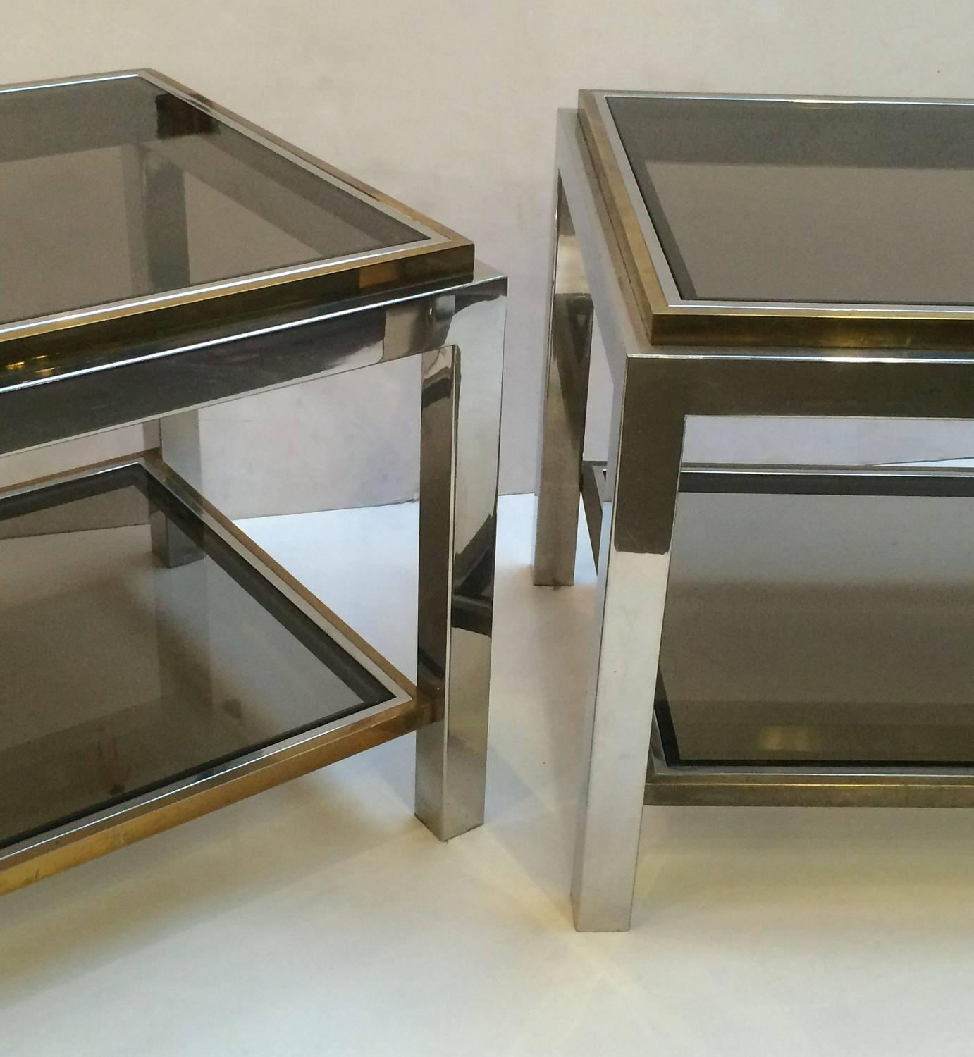 Willy rizzo pair of low tables at 1stdibs for Table willy rizzo