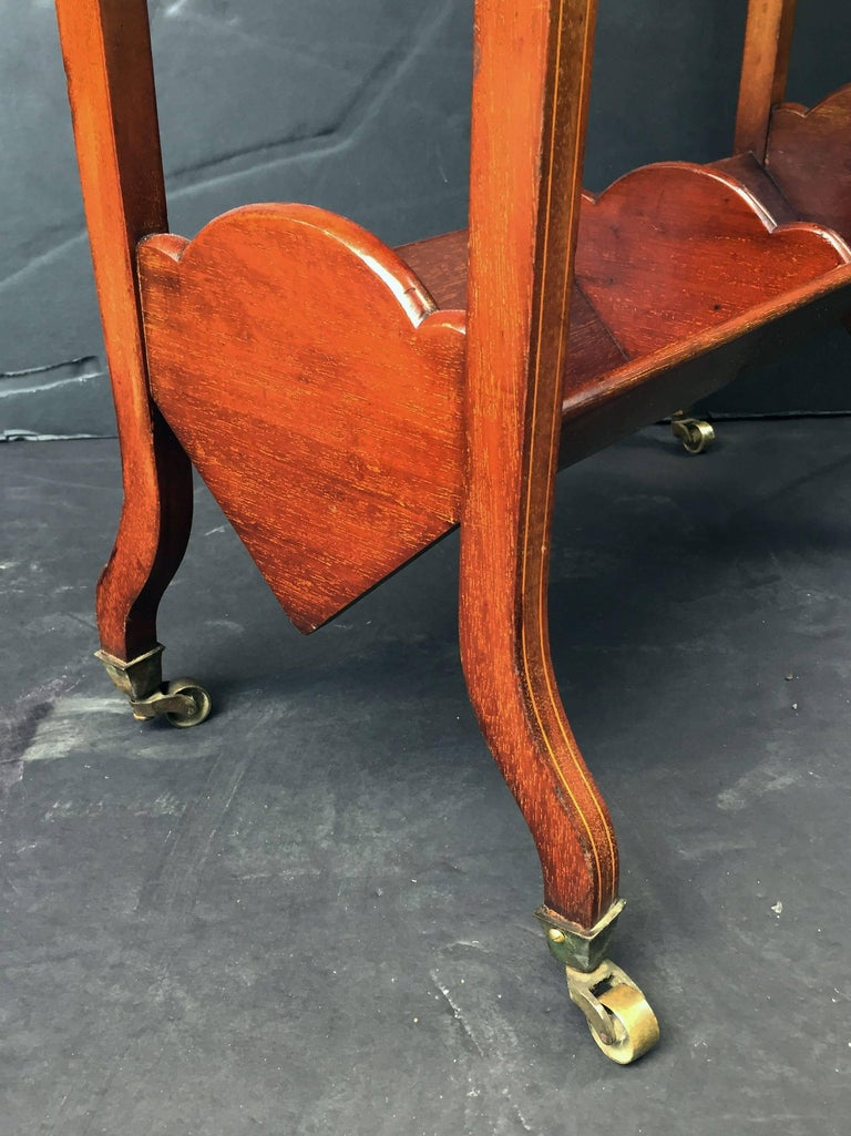 English Bookstand of Inlaid Mahogany from the Edwardian Era For Sale 4