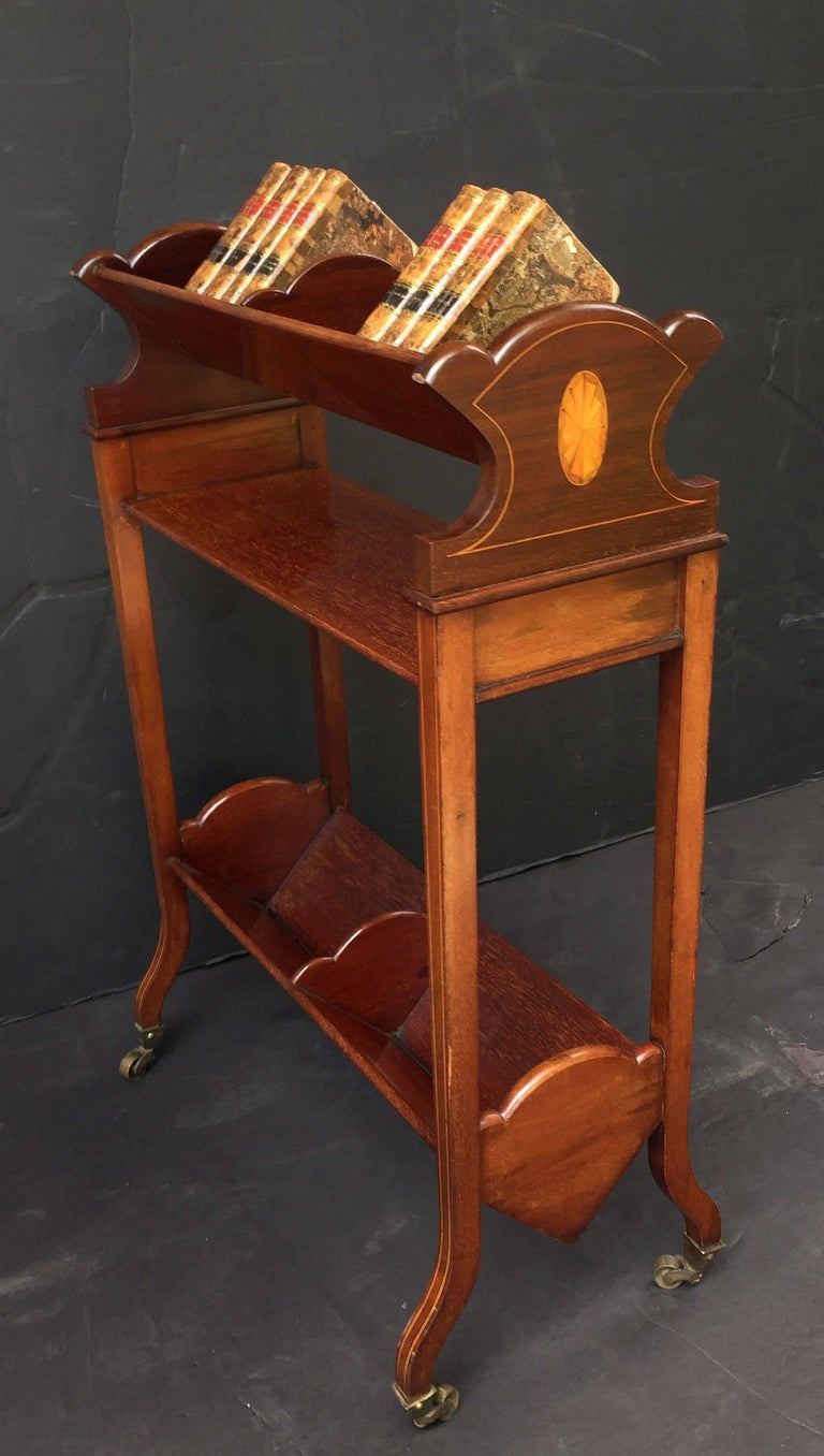 20th Century English Bookstand of Inlaid Mahogany from the Edwardian Era For Sale