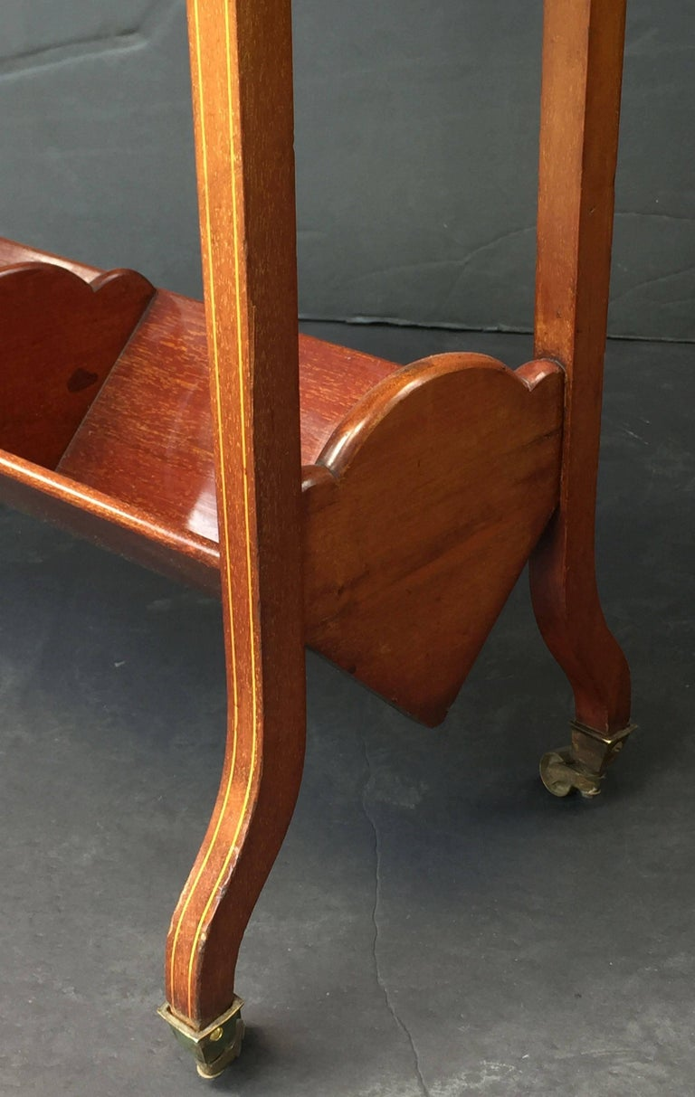 English Bookstand of Inlaid Mahogany from the Edwardian Era For Sale 3