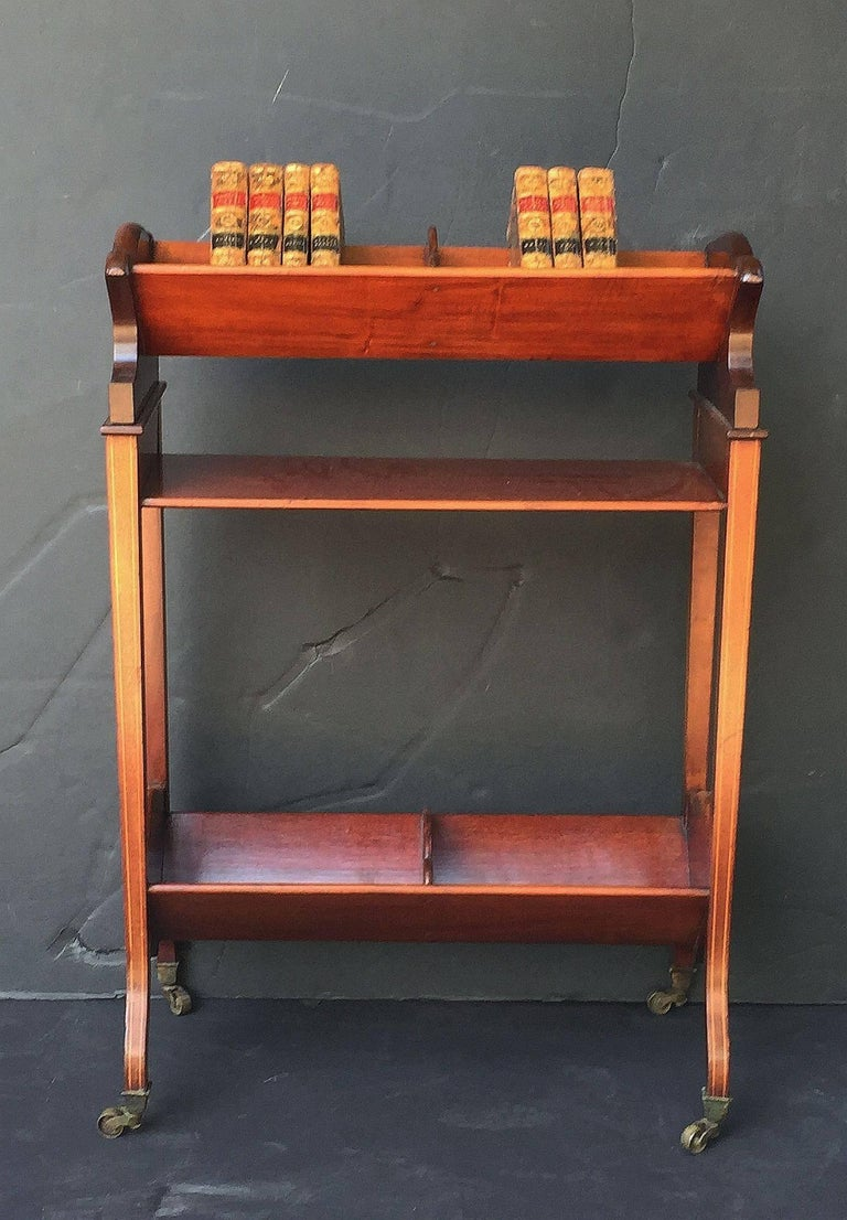 Brass English Bookstand of Inlaid Mahogany from the Edwardian Era For Sale