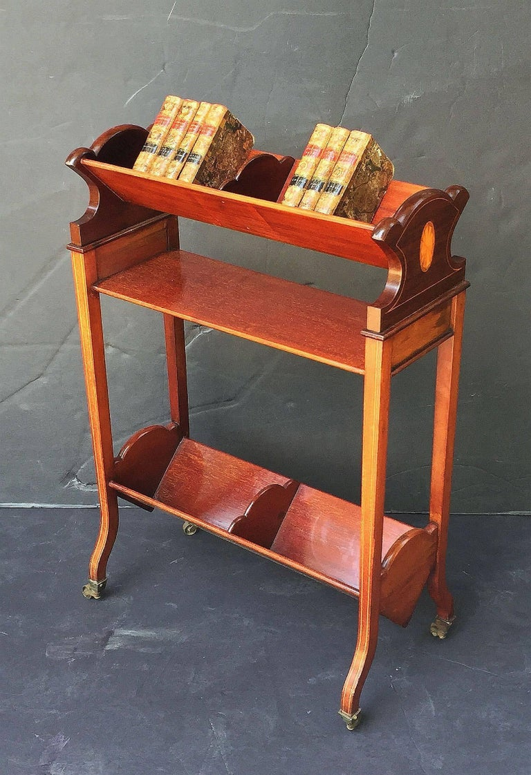 Inlay English Bookstand of Inlaid Mahogany from the Edwardian Era For Sale