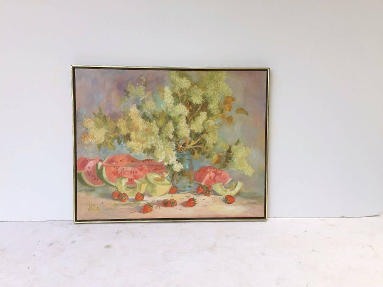 Large American School Still Life Painting on Canvas 2