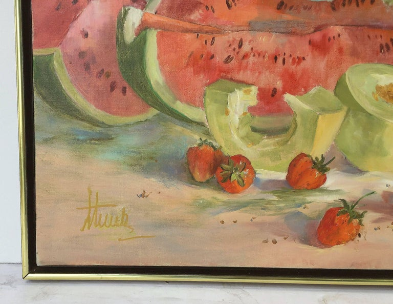 Large American School Still Life Painting on Canvas 5
