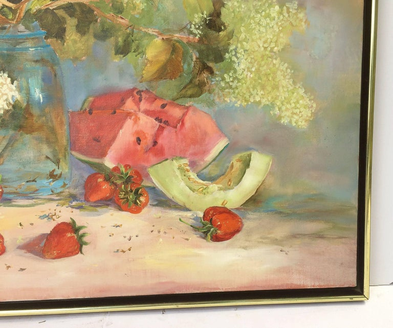 Large American School Still Life Painting on Canvas 6