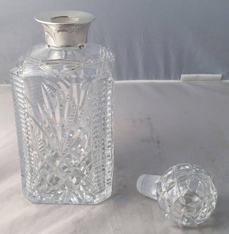 English Cut Crystal Spirits or Whiskey Decanter with Sterling Silver Collar In Excellent Condition For Sale In Austin, TX