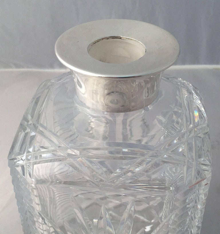 20th Century English Cut Crystal Spirits or Whiskey Decanter with Sterling Silver Collar For Sale
