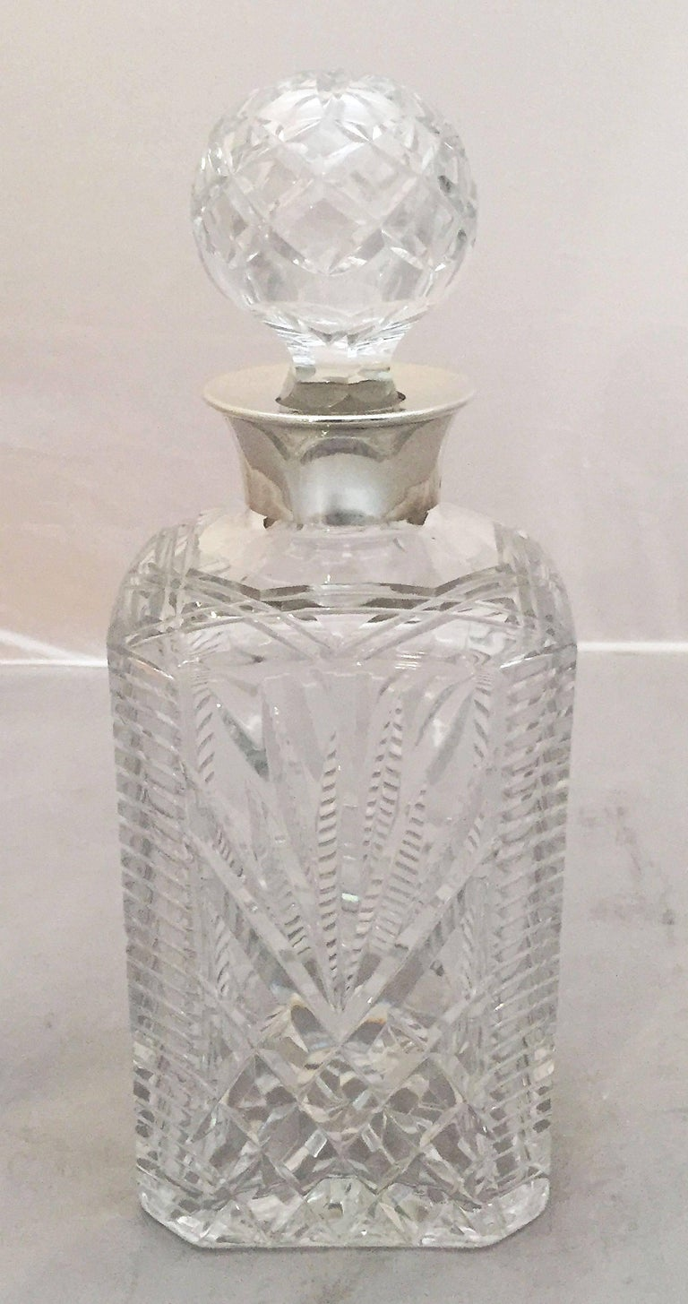 English Cut Crystal Spirits or Whiskey Decanter with Sterling Silver Collar For Sale 6