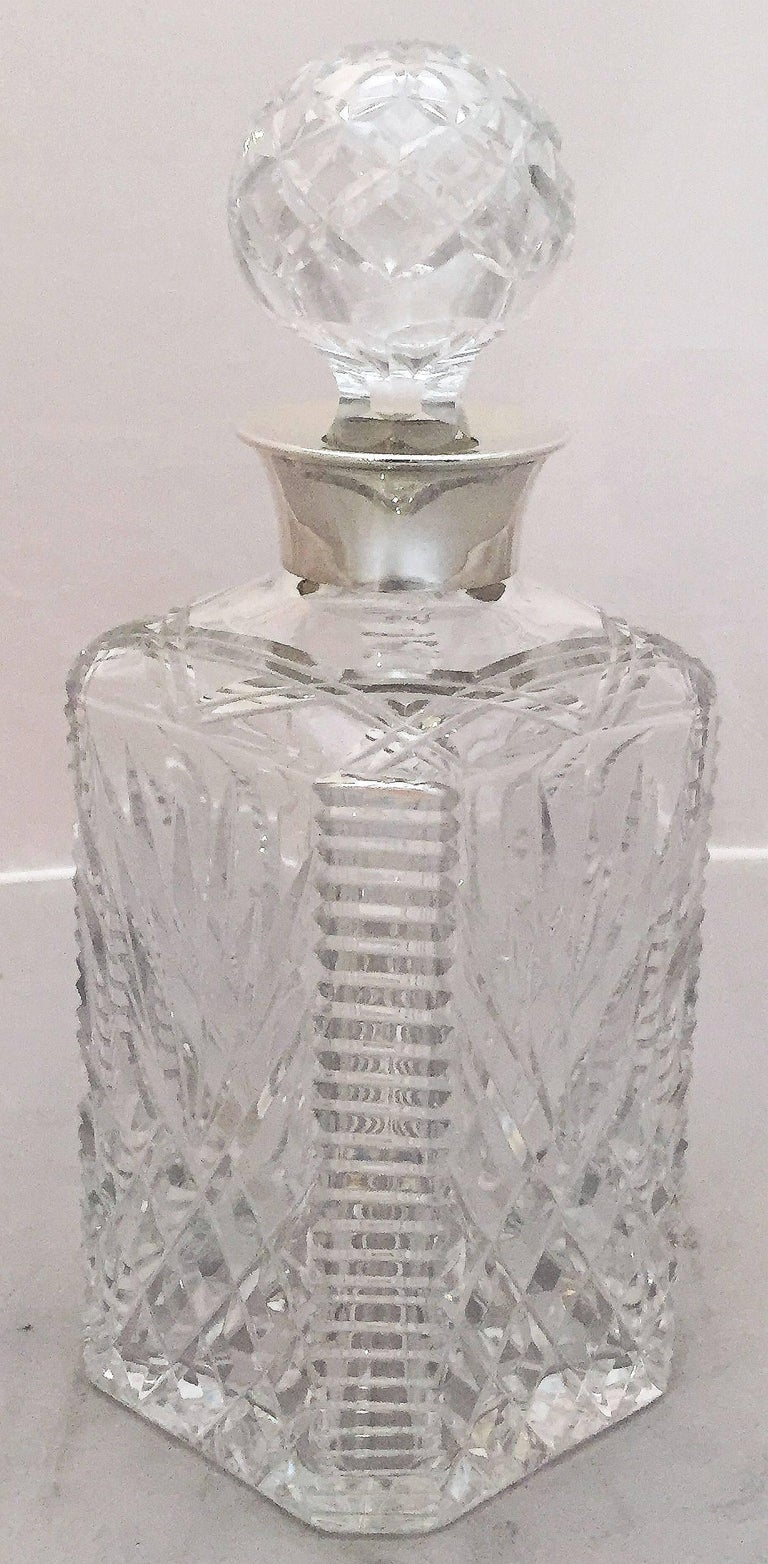 English Cut Crystal Spirits or Whiskey Decanter with Sterling Silver Collar For Sale 5