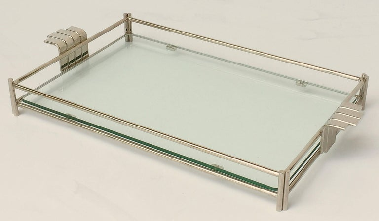 French Serving Tray of Chrome and Glass by Christian Dior 4