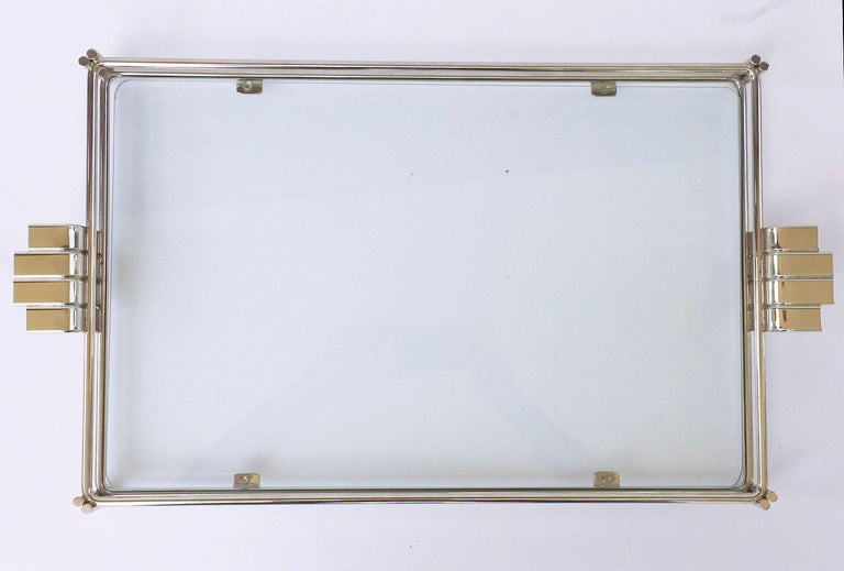 French Serving Tray of Chrome and Glass by Christian Dior 5