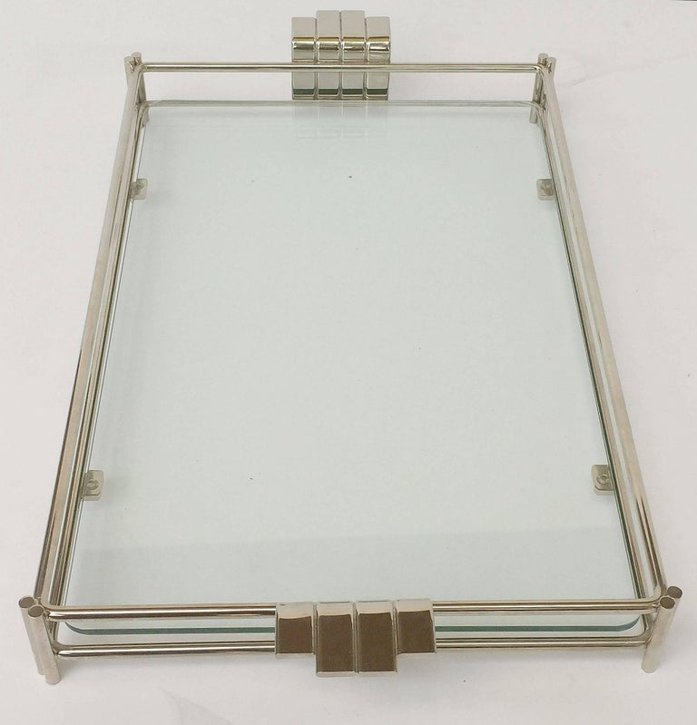 French Serving Tray of Chrome and Glass by Christian Dior 6