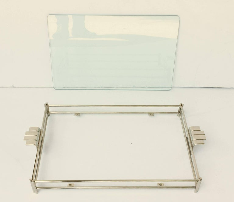 French Serving Tray of Chrome and Glass by Christian Dior 7