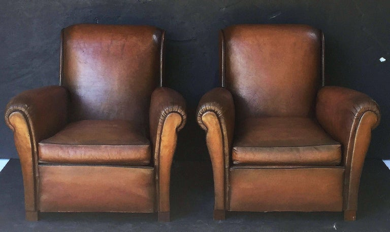 French Leather Club Chairs 3