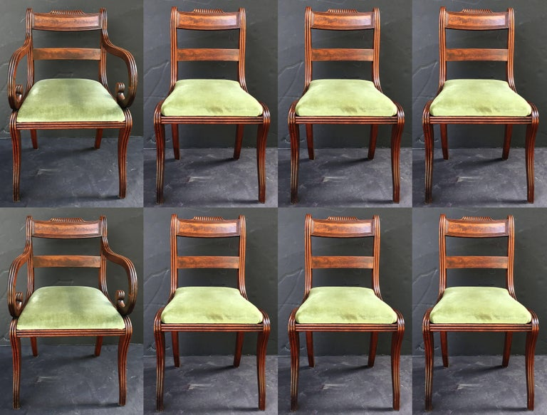 Set of Scottish Regency Dining Chairs of Mahogany, Two Arms and Six Side Chairs 2