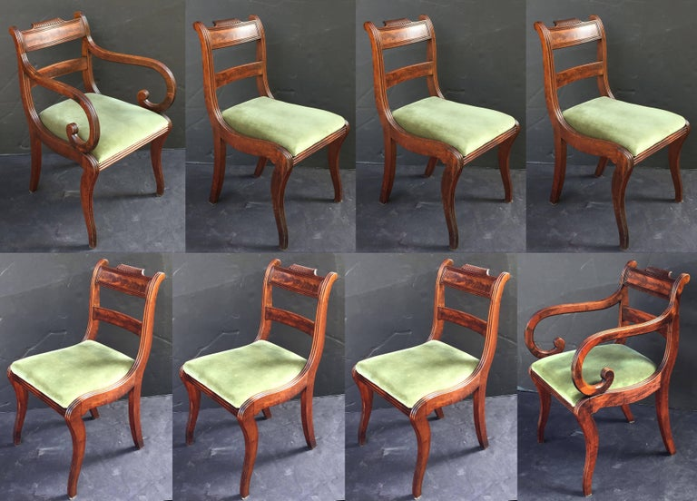 Set of Scottish Regency Dining Chairs of Mahogany, Two Arms and Six Side Chairs 3