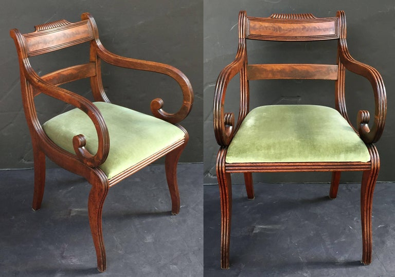 Set of Scottish Regency Dining Chairs of Mahogany, Two Arms and Six Side Chairs 4