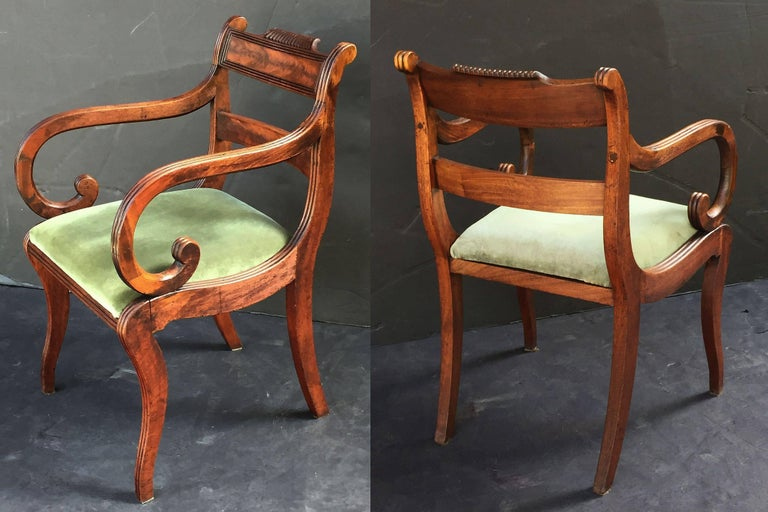 Set of Scottish Regency Dining Chairs of Mahogany, Two Arms and Six Side Chairs 6