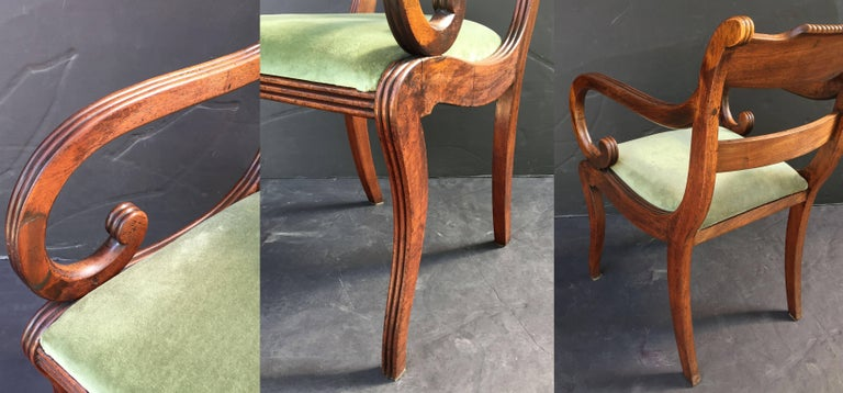 Set of Scottish Regency Dining Chairs of Mahogany, Two Arms and Six Side Chairs 9