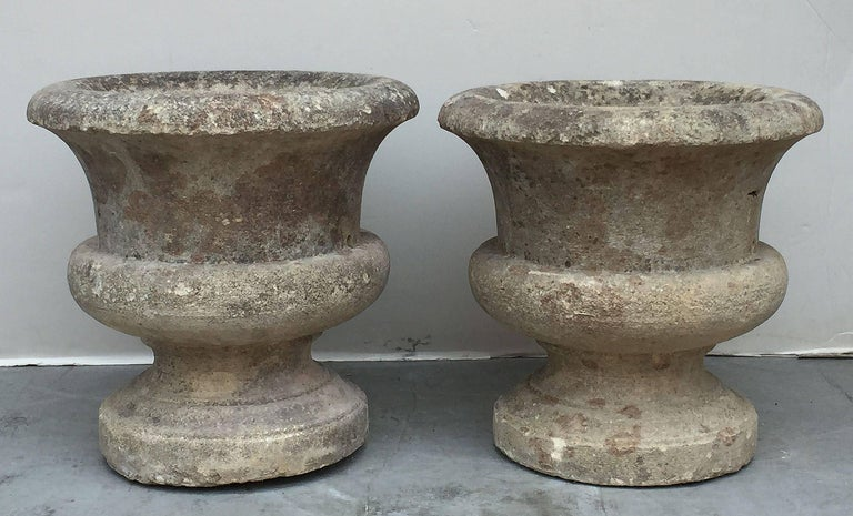 Pair of French Round Garden Stone Planters, Priced Individually 2
