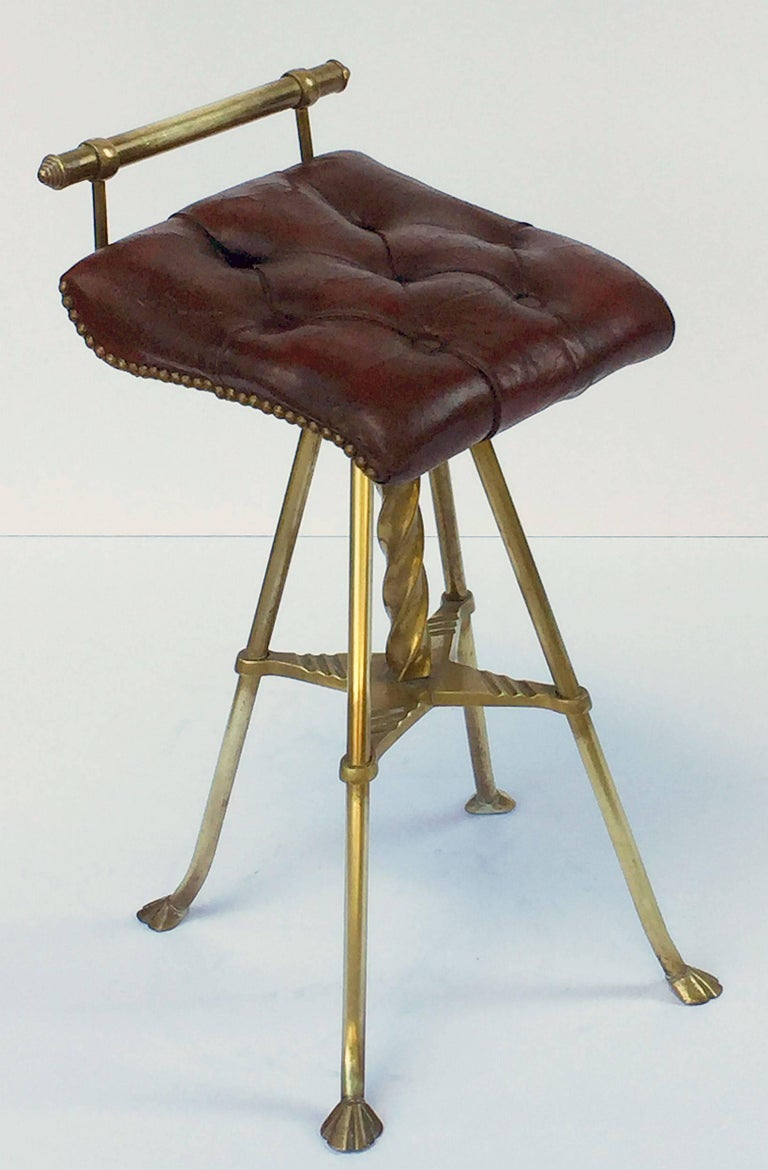 English Harpist's Stool of Brass with Original Button Leather Seat 3