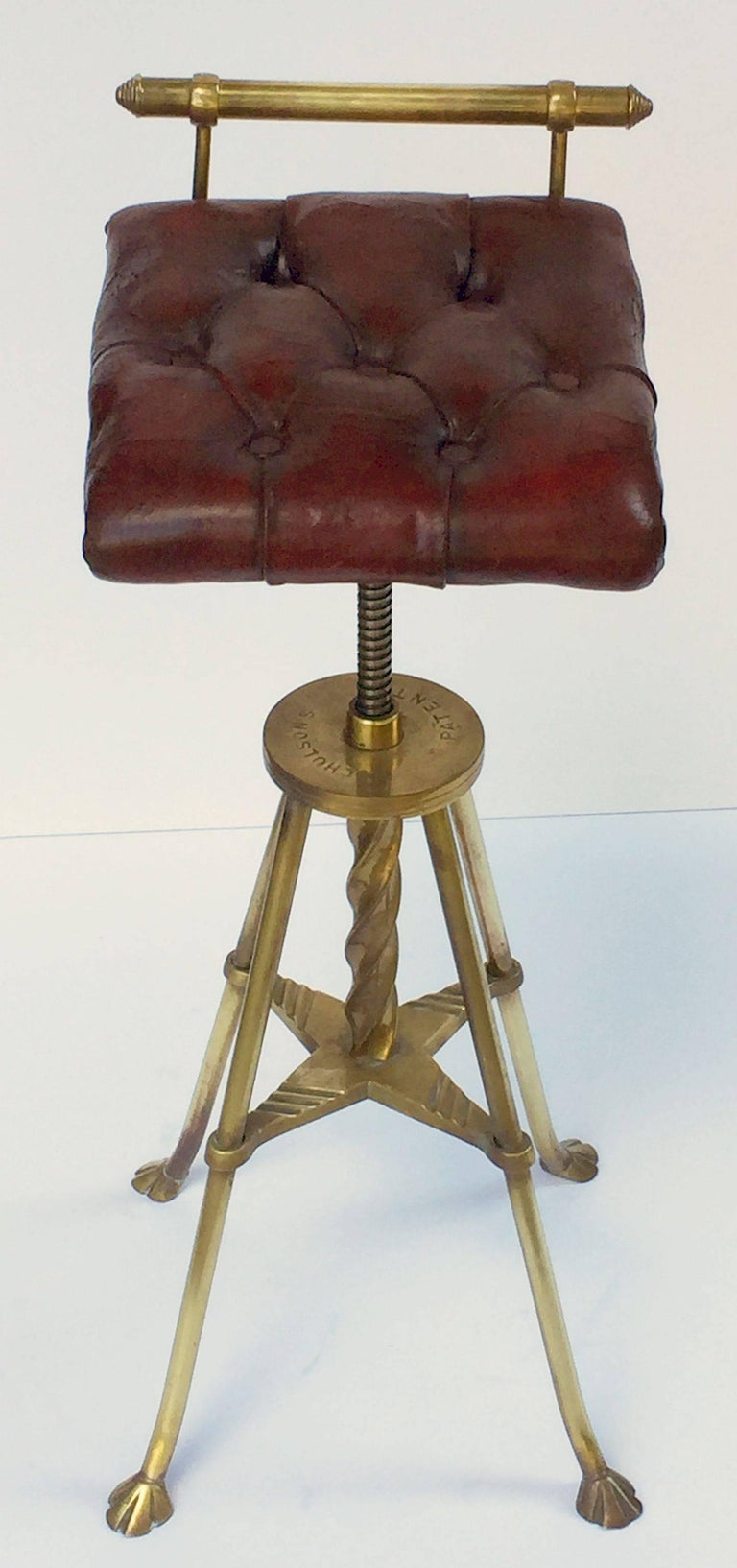 English Harpist's Stool of Brass with Original Button Leather Seat 4