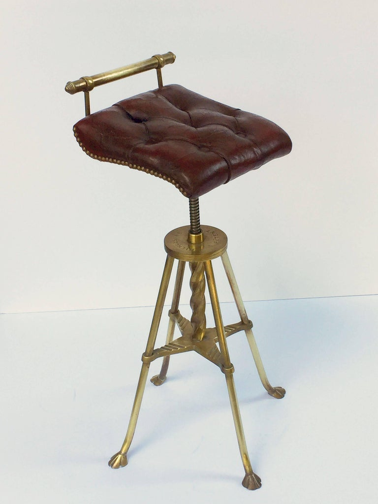 English Harpist's Stool of Brass with Original Button Leather Seat 5
