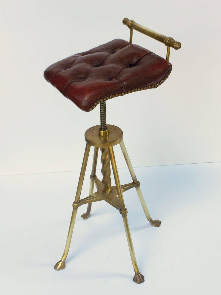 English Harpist's Stool of Brass with Original Button Leather Seat 6