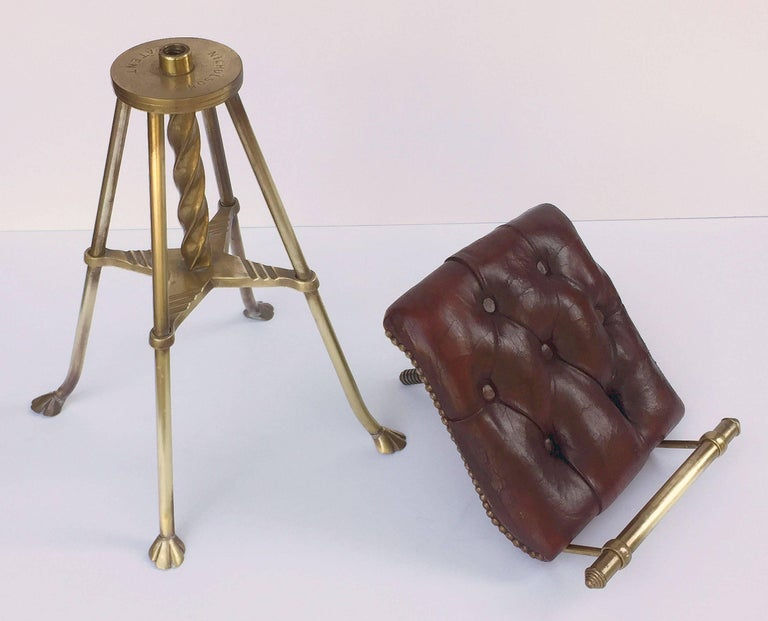 English Harpist's Stool of Brass with Original Button Leather Seat 8