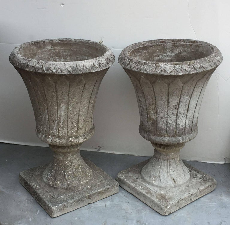 Pair of English Garden Stone Urns in the Classical Style 2
