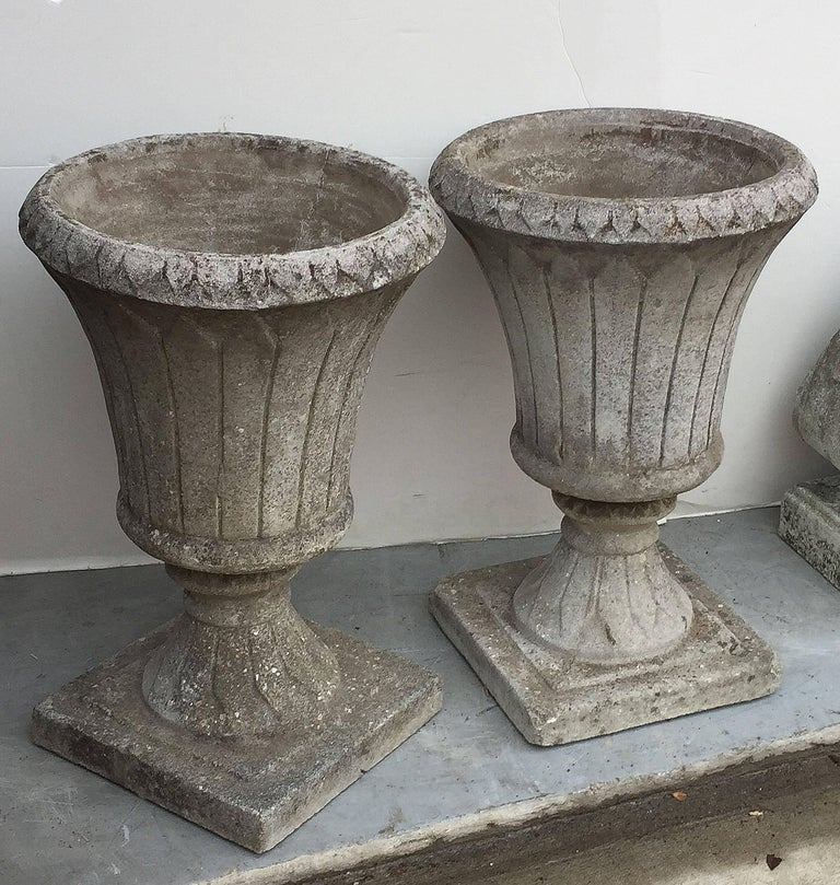 Pair of English Garden Stone Urns in the Classical Style 3