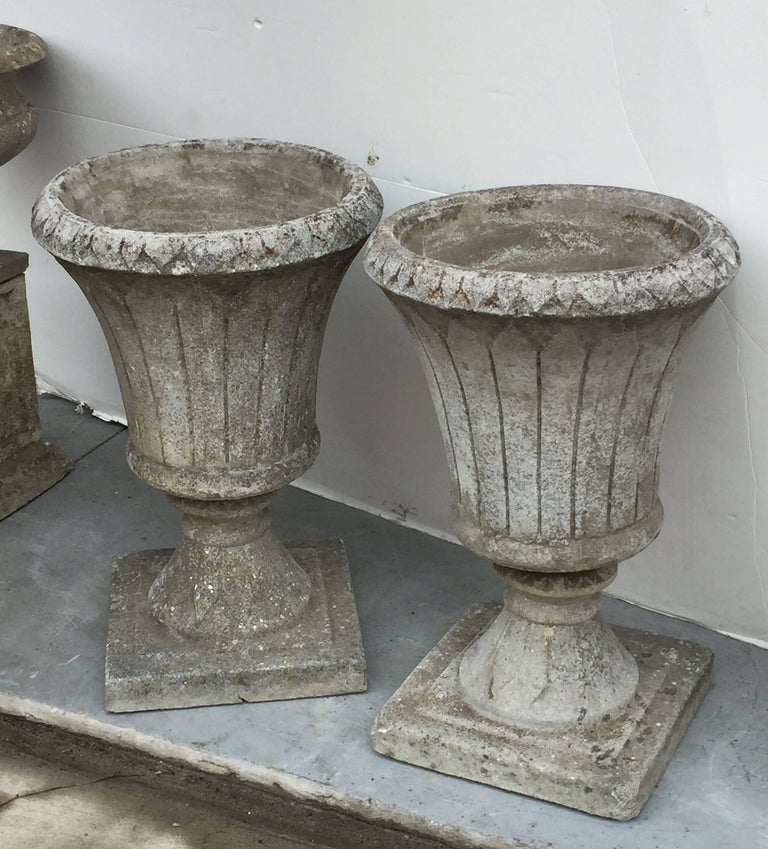 Pair of English Garden Stone Urns in the Classical Style 4