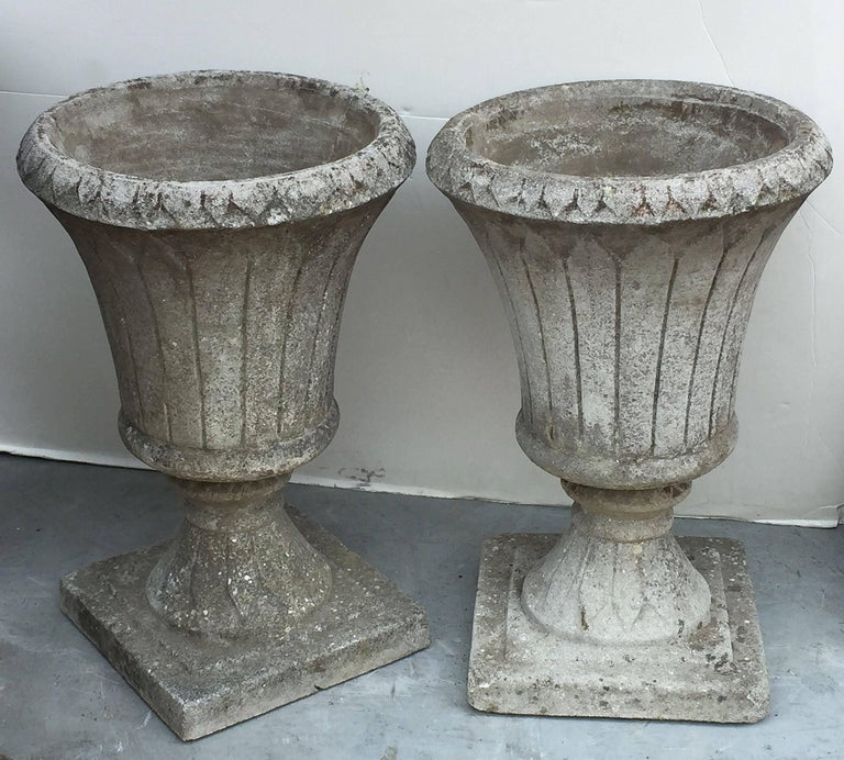 Pair of English Garden Stone Urns in the Classical Style 5