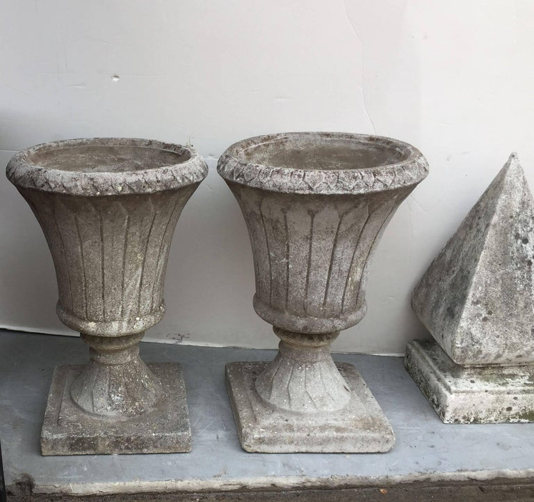 Pair of English Garden Stone Urns in the Classical Style 6