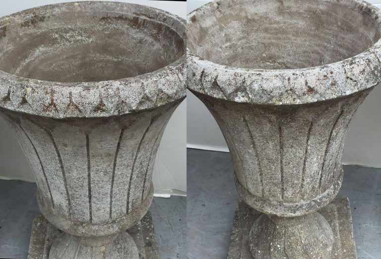 Pair of English Garden Stone Urns in the Classical Style 7